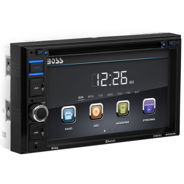 """Boss Audio BV9364B In-Dash Double-DIN 6.2"""" Touchscreen Monitor Bluetooth DVD Player"""