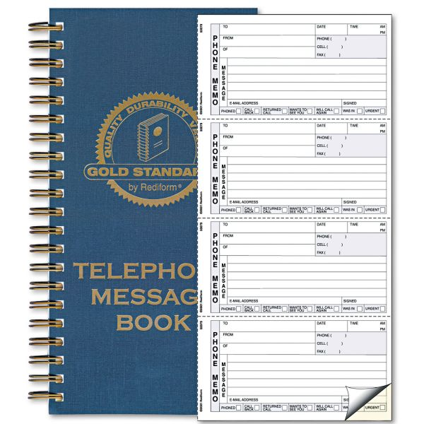 Rediform Wirebound Message Book, 5 x 2 3/4, Two-Part Carbonless, 600 Sets/Book