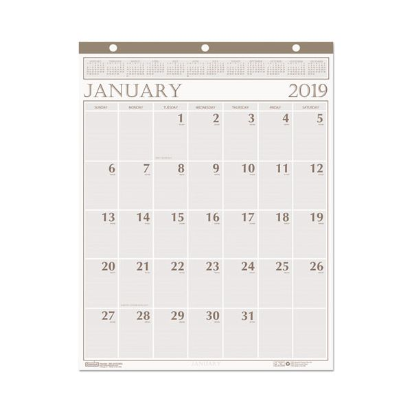 House of Doolittle Recycled Large Print Monthly Wall Calendar, Leatherette Binding, 20 x 26, 2019