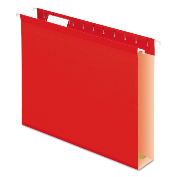 "Pendaflex Reinforced 2"" Extra Capacity Hanging Folders, 1/5 Tab, Letter, Red, 25/Box"