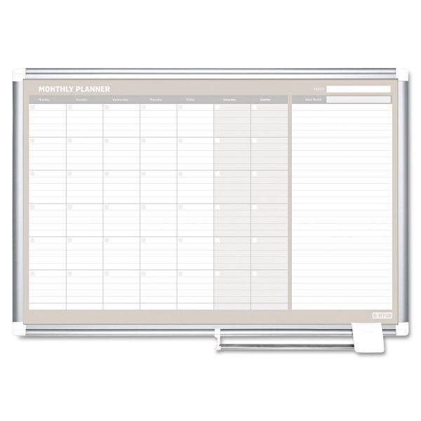 MasterVision Monthly Planner, 48x36, Silver Frame