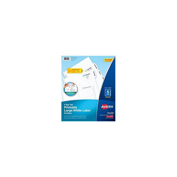 Avery Large White Label Index Dividers
