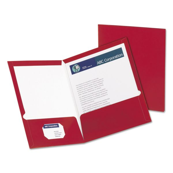 Oxford Laminated Crimson Two Pocket Folders