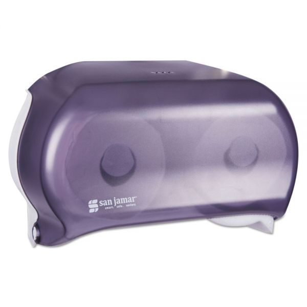San Jamar VersaTwin Tissue Dispenser, 8 x 5 3/4 x 12 3/4, Transparent Black Pearl