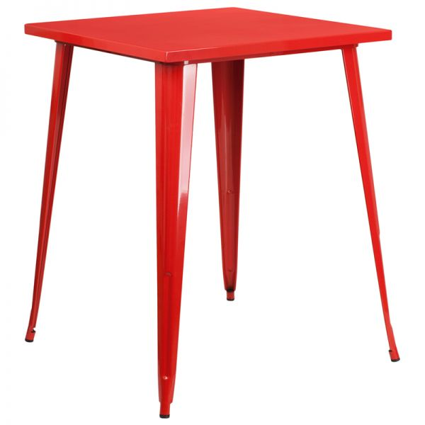 Flash Furniture 31.5'' Square Red Metal Indoor-Outdoor Bar Height Table
