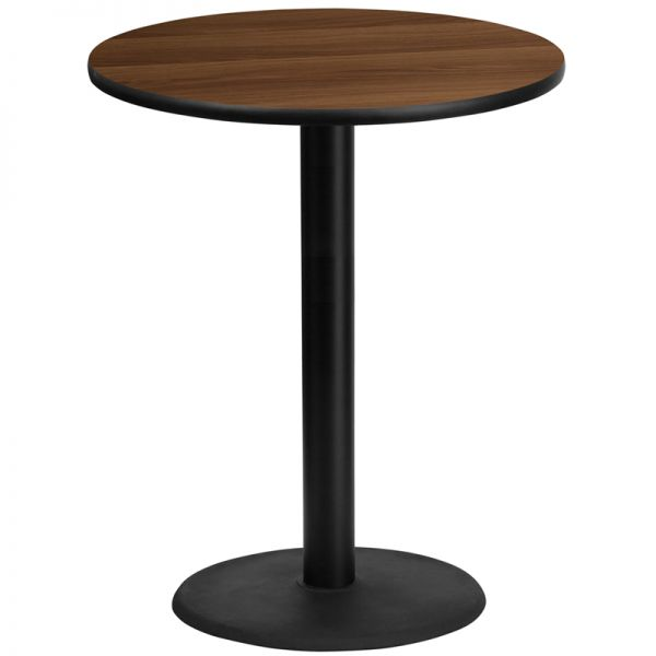 Flash Furniture 36'' Round Walnut Laminate Table Top with 24'' Round Bar Height Table Base