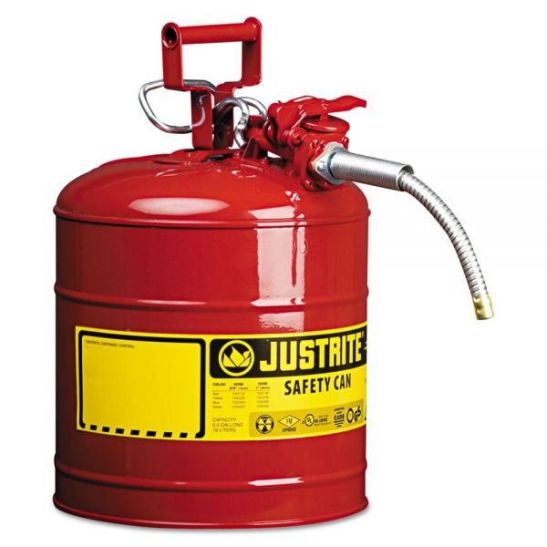 "JUSTRITE AccuFlow Safety Can, Type II, 5gal, Red, 5/8"" Hose"