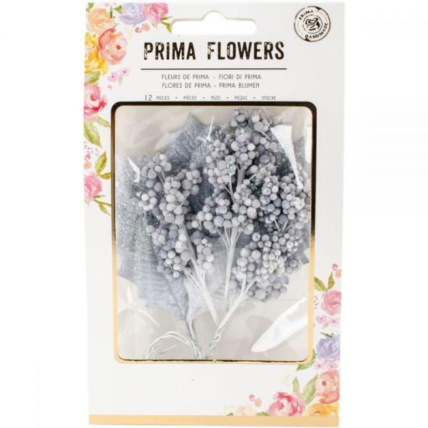 Prima Marketing Glittered Leaf & Berry Stems