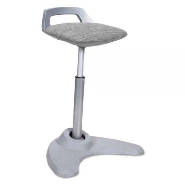Alera Sit to Stand Perch Stool, Gray with Silver Base