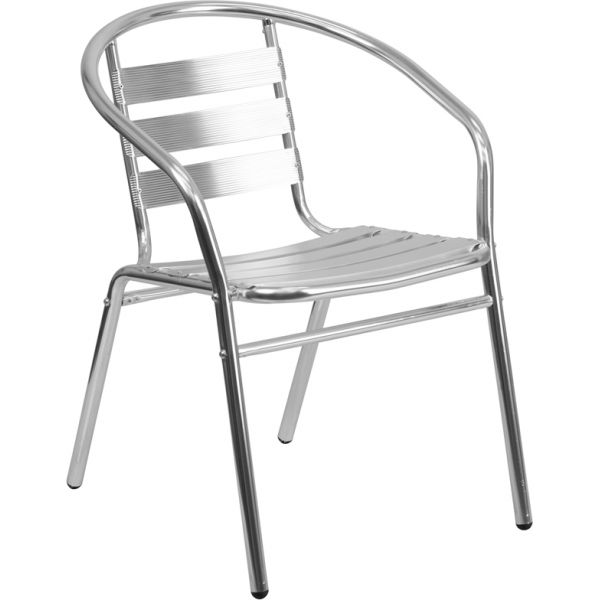 Flash Furniture Aluminum Commercial Indoor-Outdoor Restaurant Stack Chair with Triple Slat Back