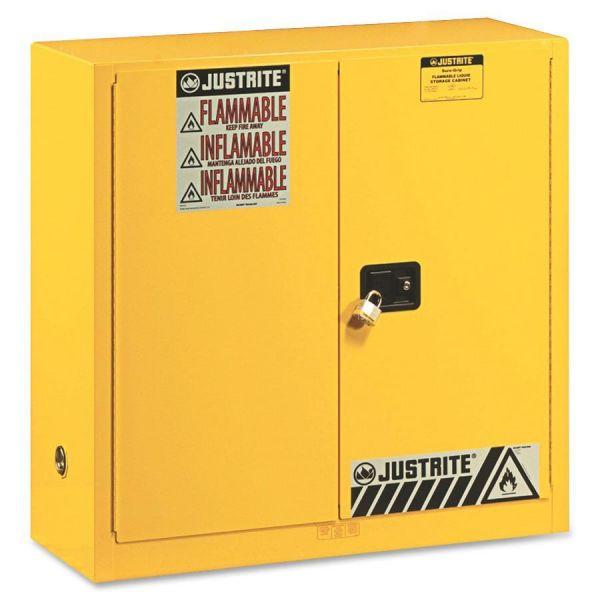 JUSTRITE Sure-Grip EX Standard Safety Cabinet, 43w x 18d x 44h, Yellow