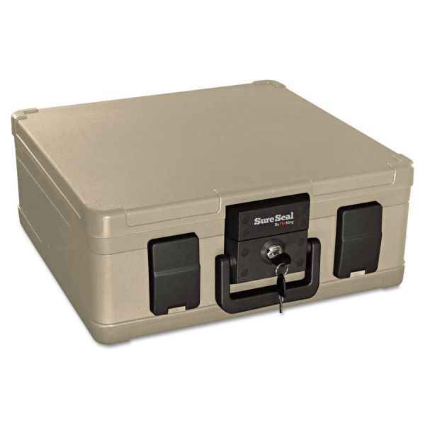 SureSeal By FireKing Fire and Waterproof Chest, 0.27 cu. ft., 15 9/10w x 12 2/5d x 6 1/2h, Taupe