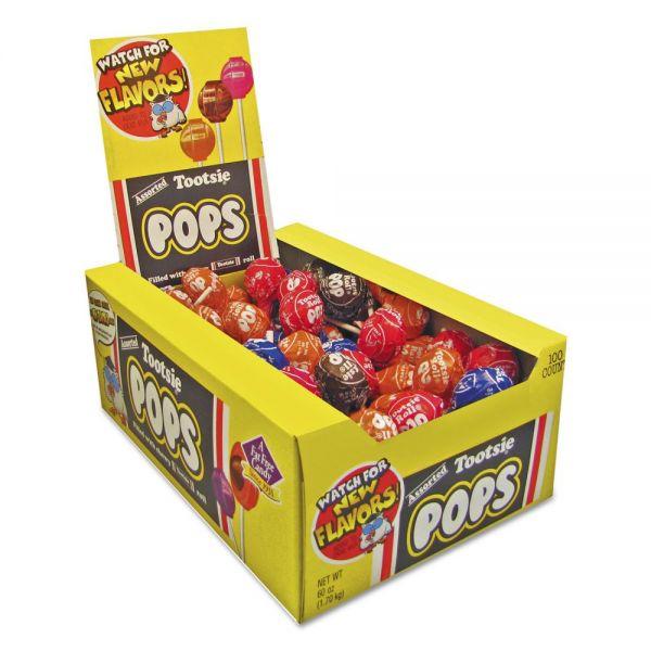 Tootsie Roll Tootsie Pops, 0.6 oz, Assorted Flavors, 100/Box
