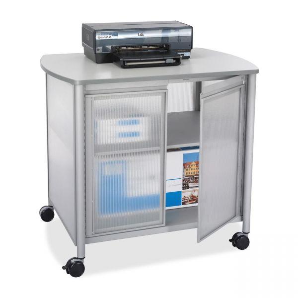 Safco Impromptu Deluxe Machine Stand w/Doors, 34-3/4w x 25-1/2d x 30-3/4h, Gray