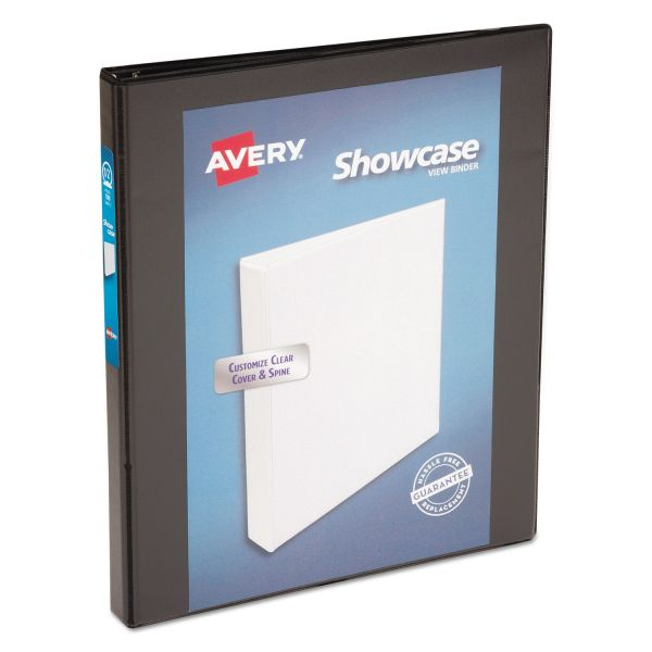 "Avery Showcase Economy 3-Ring View Binder, 1/2"" Capacity, Round Ring, Black"