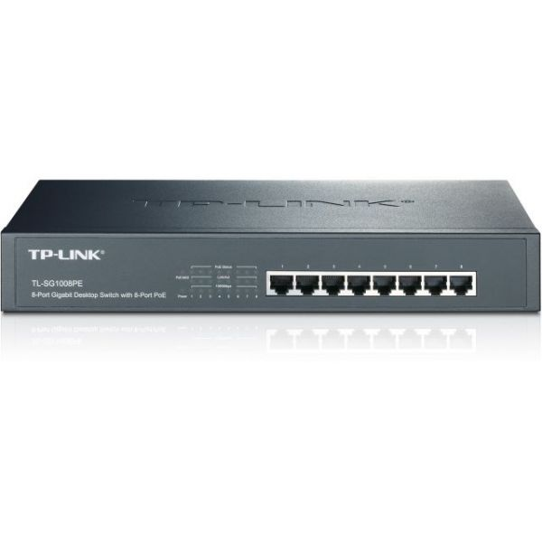 TP-LINK TL-SG1008PE 8-Port Giagbit PoE Switch, 8 POE ports, IEEE 802.3at/af, Max Output 124W