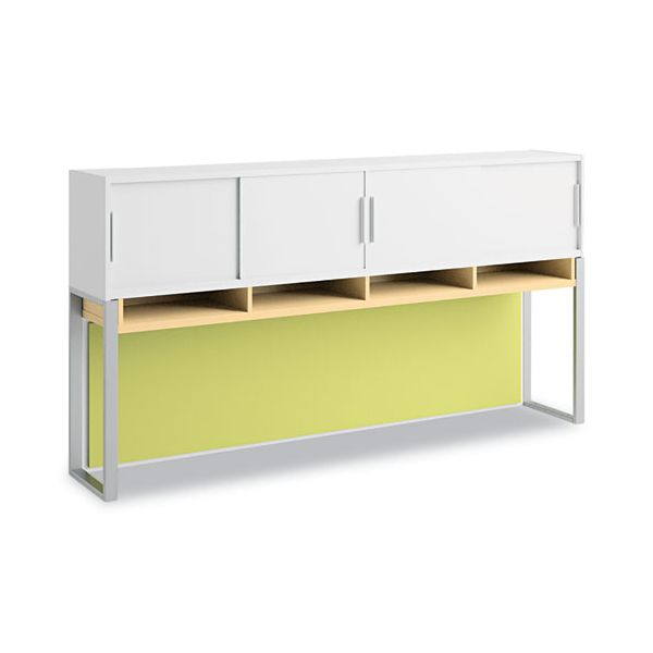 "Bush Furniture 72""W Overhead with Doors Momentum: White/Natural Maple"