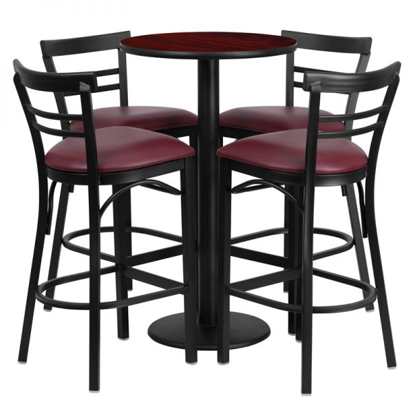 Flash Furniture 24'' Round Mahogany Laminate Table Set with 4 Ladder Back Metal Barstools - Burgundy Vinyl Seat