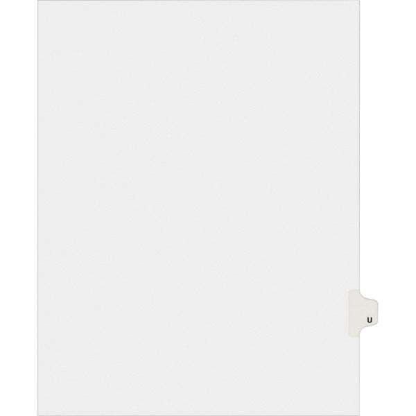 Avery Allstate-Style Legal Exhibit Side Tab Divider, Title: U, Letter, White, 25/Pack