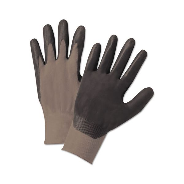 Anchor Brand Nitrile-Coated Gloves, Gray, Nylon Knit, Foam Palm, Medium