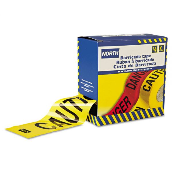 "North Safety Barricade Tape, 3"" x 1000 ft, ""Caution"" Text, Yellow/Black"