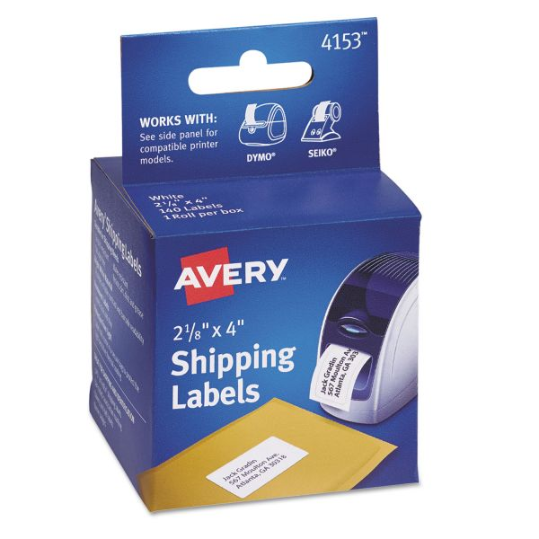 Avery Thermal Printer Shipping Labels, 2 1/8 x 4, White, 140/Roll, 1 Roll