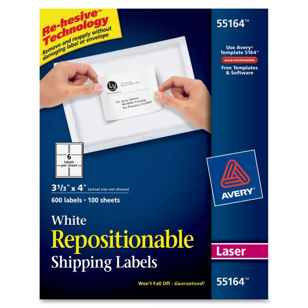 Avery 55164 Repositionable Shipping Labels