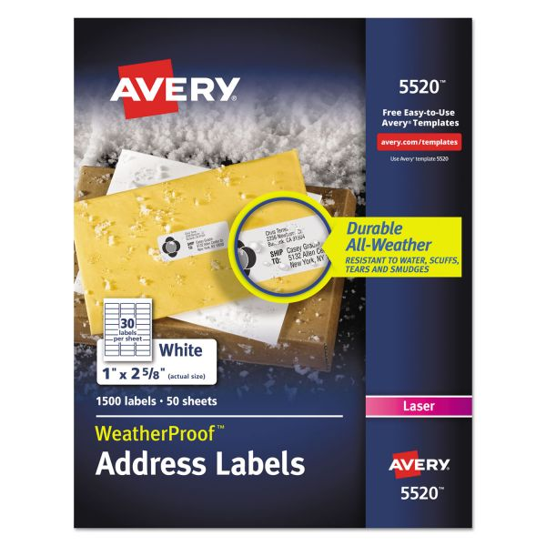 Avery WeatherProof Addess Labels w/TrueBlock, Laser, White, 1 x 2 5/8, 1500/Pack