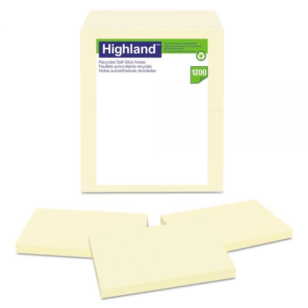 Highland Recycled Self Stick Notes, 3 x 5, Yellow, 100 Sheets/Pad, 12 Pads/Pack