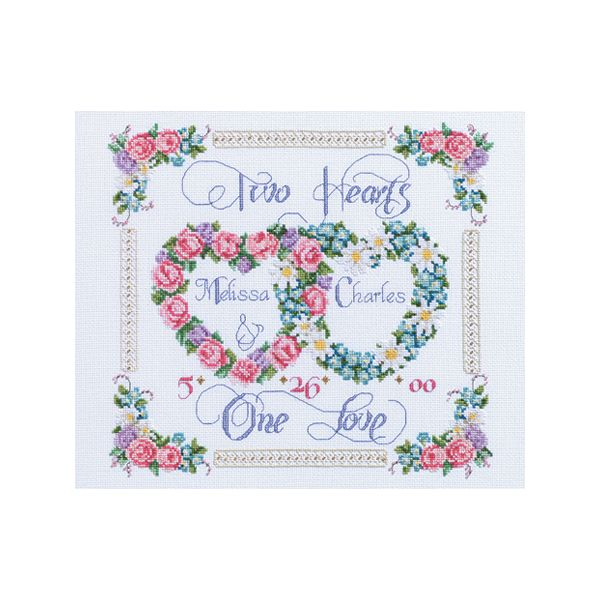 Two Hearts, One Love Counted Cross Stitch Kit
