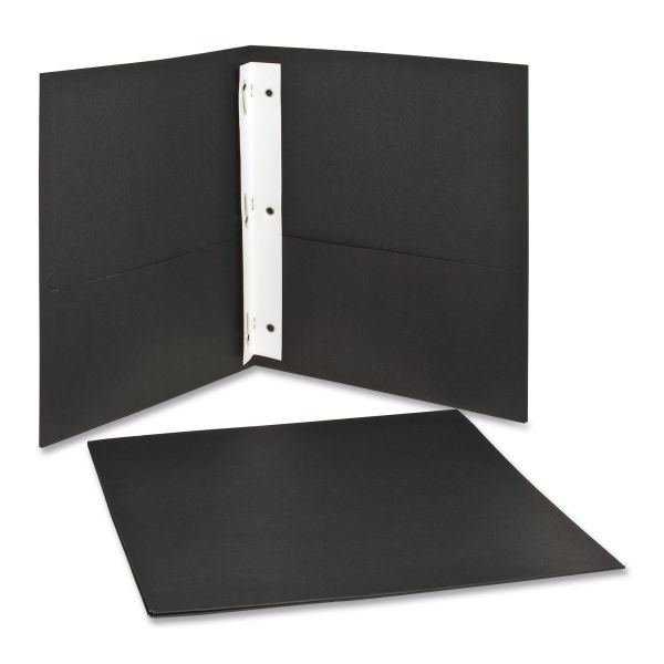Oxford Black Two Pocket Folders with Fasteners