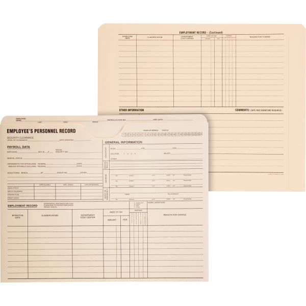 Quality Park Employee Record Jackets, 11 3/4 x 9 1/2, 11 Point Manila, 100/Box