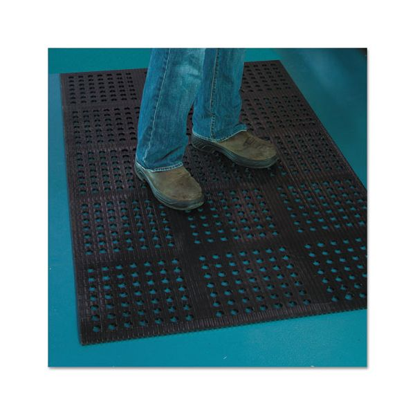ES Robbins Pro Lite Four-Way Drain Mat, 36 x 120, Black