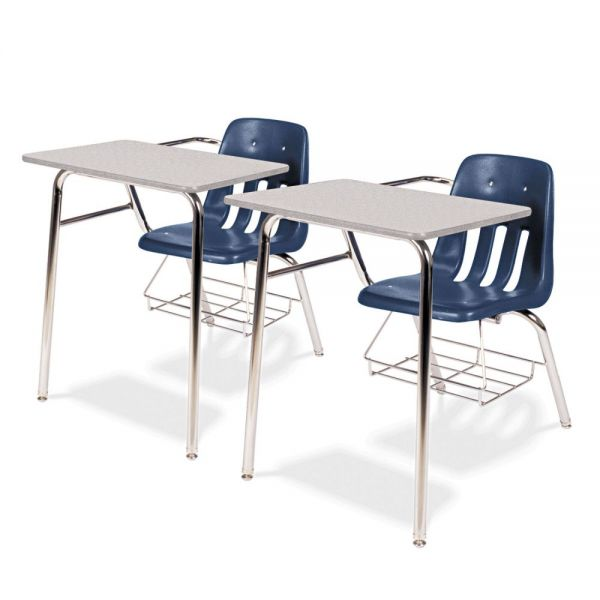 9400 Classic Series Chair Desks, Navy, Gray Nebula Laminate Top, 2/Ctn