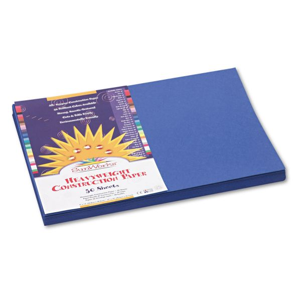 SunWorks Construction Paper, 58 lbs., 12 x 18, Dark Blue, 50 Sheets/Pack