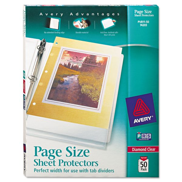 Avery Top-Load Poly 3-Hole Punched Sheet Protectors, Letter, Heavyweight, Diamond Clear, 50/Box