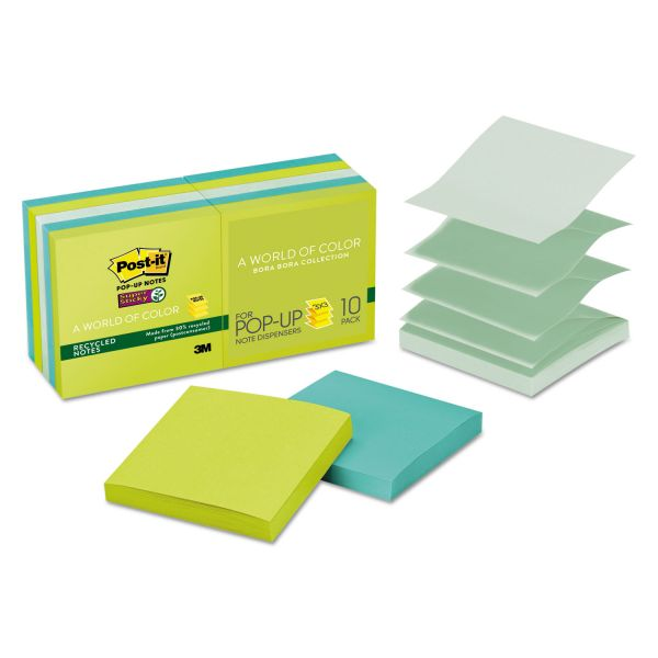 "Post-it 3"" x 3"" Super Sticky Recycled Pop-Up Notes"