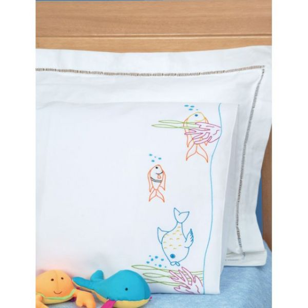 Jack Dempsey Children's Stamped Pillowcase With White Perle Edge
