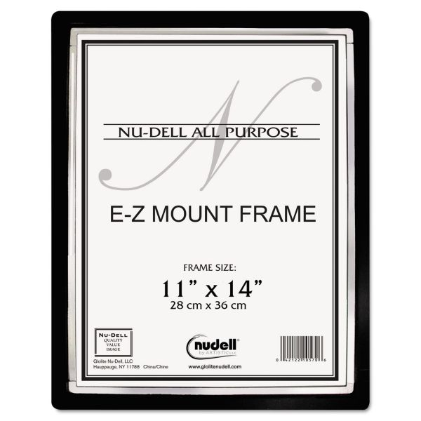 NuDell EZ Mount II Document Frame, Plastic, 11 x 14, Black/Silver