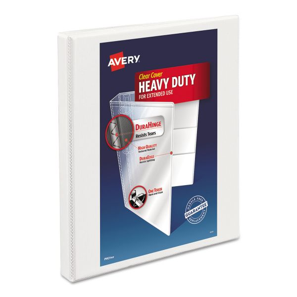"Avery Heavy-Duty Non Stick 3-Ring View Binder, 1/2"" Capacity, Slant Ring, White"