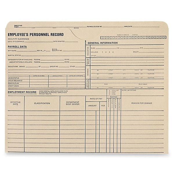 Quality Park Employee's Personnel Record Jackets