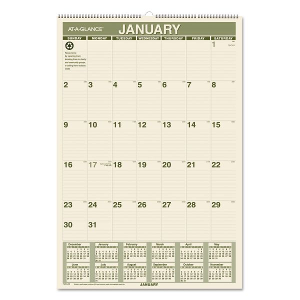 At-A-Glance Recycled Green Living Monthly Wall Calendar