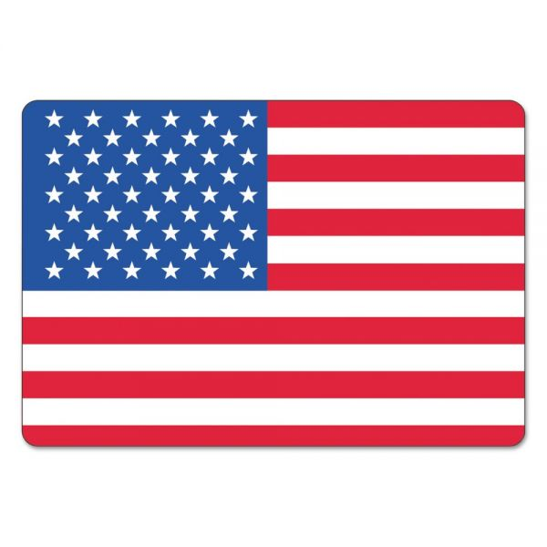 LabelMaster Warehouse Self-Adhesive Label, 4 1/2 x 3, USA FLAG, 100/Pack