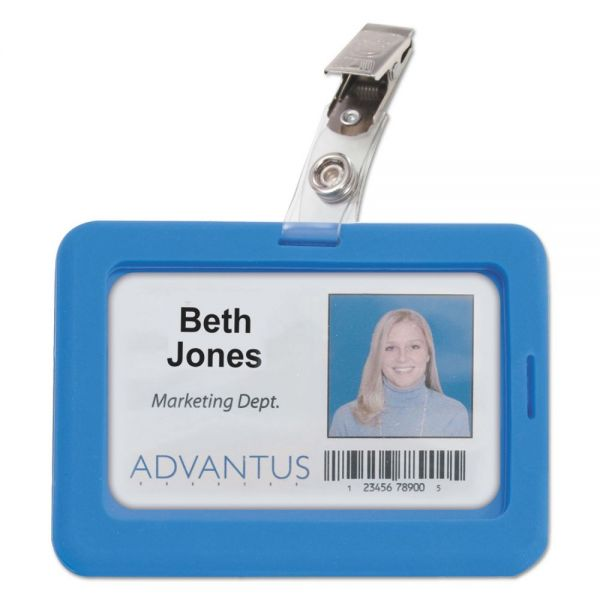 Advantus Rubberized Badge Holder, 2 1/2 x 3 3/4, Horizontal/Vertical, Blue, 5/PK