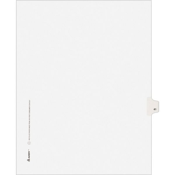 Avery-Style Legal Exhibit Side Tab Divider, Title: 41, Letter, White, 25/Pack