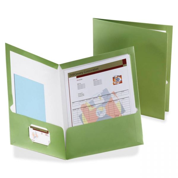 Esselte Laminated Green Two Pocket Folders