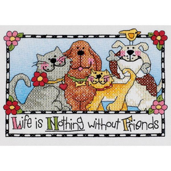 Life Is Nothing Without Friends Mini Stamped Cross Stitch Ki
