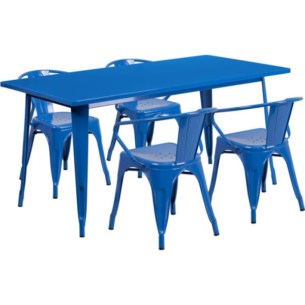 Flash Furniture 31.5'' x 63'' Rectangular Blue Metal Indoor-Outdoor Table Set with 4 Arm Chairs