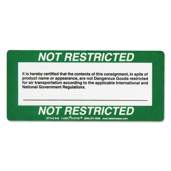 LabelMaster Shipping and Handling Self-Adhesive Label, 5 x 2 1/4, NOT RESTRICTED, 500/Roll