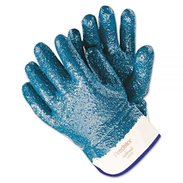 MCR Safety Predator Premium Nitrile-Coated Gloves, Blue/White, Large, 12 Pairs